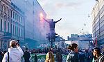 Stockholm 2014-04-14 Fotboll Superettan Hammarby IF - Degerfors IF :  <br /> Hammarby supportrar med en bengalisk eld p&aring; G&ouml;tgatan under marschen fr&aring;n Medborgarplatsen till Tele2 Arena<br /> (Foto: Kenta J&ouml;nsson) Nyckelord:  HIF Bajen Degerfors  ?bengaler