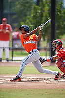 Miami Marlins Brayan Hernandez (23) during a Minor League Spring Training game against the Washington Nationals on March 28, 2018 at FITTEAM Ballpark of the Palm Beaches in West Palm Beach, Florida.  (Mike Janes/Four Seam Images)