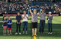 Seattle, WA - Saturday July 22, 2017:  Pre-game ceremony prior to a regular season National Women's Soccer League (NWSL) match between the Seattle Reign FC and Sky Blue FC at Memorial Stadium.