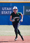 April 20, 2012:   University of Hawai'i Warrior Kelly Majam on the bases against the Nevada Wolf Pack during their NCAA softball game played at Christina M. Hixson Softball Park on Friday in Reno, Nevada.