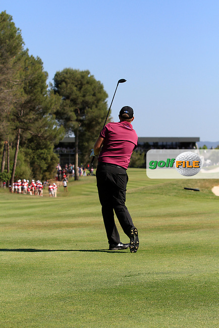 James Morrison (ENG) on the 18th fairway during Round 4 of the Open de Espana  in Club de Golf el Prat, Barcelona on Sunday 17th May 2015.<br /> Picture:  Thos Caffrey / www.golffile.ie