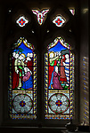 Stained glass windows from circa 1857 Jesus Wept and Raising of Lazarus at church of Saint Stephen, Beechingstoke, Wiltshire, England, UK