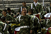 NEIVA-COLOMBIA, 05-10-2019: Soldados del Ejército de Colombia, durante partido entre Atlético Huila y Envigado F. C. de la fecha 15 por la Liga Águila II 2019 en el estadio Guillermo Plazas Alcid en la ciudad de Neiva. / Soldiers of the Colombian Army, during a match between Atletico Huila and Envigado F. C. of the 15th date for the Aguila Leguaje II 2019 at the Guillermo Plazas Alcid Stadium in Neiva city. Photo: VizzorImage  / Sergio Reyes / Cont.