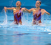 05.08.2012. London, England. Olympic Games London 2012 Aquatics Center London Synchronized  Swimming Qualification Technical Routine Evangelia Platanioti and Despoina Solomou Greece
