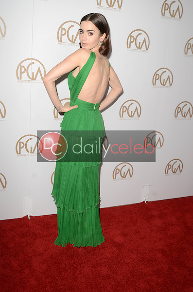 Lily Collins<br /> at the 2017 Producers Guild Awards, Beverly Hilton Hotel, Beverly Hills, CA 01-28-17<br /> David Edwards/DailyCeleb.com 818-249-4998