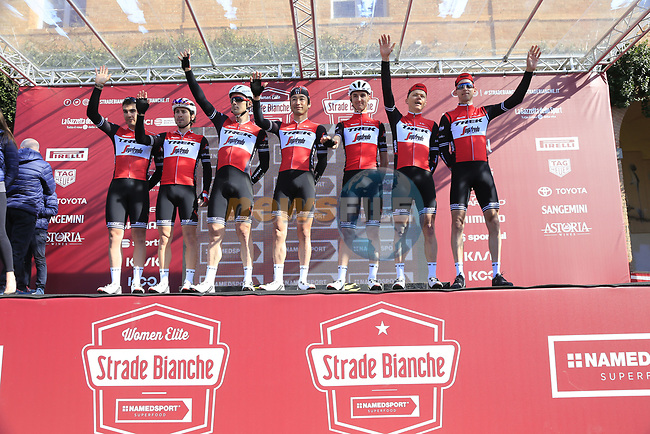 Trek-Segafredo team at sign on in Fortezza Medicea before the start of Strade Bianche 2019 running 184km from Siena to Siena, held over the white gravel roads of Tuscany, Italy. 9th March 2019.<br /> Picture: Eoin Clarke | Cyclefile<br /> <br /> <br /> All photos usage must carry mandatory copyright credit (© Cyclefile | Eoin Clarke)