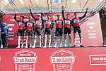 Trek-Segafredo team at sign on in Fortezza Medicea before the start of Strade Bianche 2019 running 184km from Siena to Siena, held over the white gravel roads of Tuscany, Italy. 9th March 2019.<br /> Picture: Eoin Clarke | Cyclefile<br /> <br /> <br /> All photos usage must carry mandatory copyright credit (&copy; Cyclefile | Eoin Clarke)