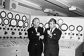 Dr. Wernher von Braun, right, briefs Astronaut John Glenn, left, in the control room of the Vehicle Test Section, Quality Assurance Division, Marshall Space Flight Center (MSFC) in Huntsville, Alabama, November 28, 1962..Credit: NASA via CNP
