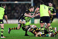 Dylan Hartley of Northampton Saints swings his arm around the head of Sean O'Brien of Leinster Rugby in an act that will get him sent off. European Rugby Champions Cup match, between Northampton Saints and Leinster Rugby on December 9, 2016 at Franklin's Gardens in Northampton, England. Photo by: Patrick Khachfe / JMP