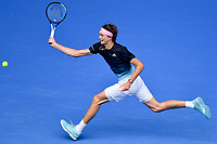 January 15, 2019: 4th seed Alexander Zverev in action in a first round match against Aljaz Bedene on day two of the 2019 Australian Open Grand Slam tennis tournament in Melbourne, Australia. Majchrzak retired in the fifth set. Zverev won 64 61 64. Photo Sydney Low