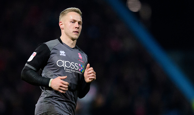 Lincoln City's Danny Rowe<br /> <br /> Photographer Chris Vaughan/CameraSport<br /> <br /> The EFL Sky Bet League Two - Mansfield Town v Lincoln City - Monday 18th March 2019 - Field Mill - Mansfield<br /> <br /> World Copyright © 2019 CameraSport. All rights reserved. 43 Linden Ave. Countesthorpe. Leicester. England. LE8 5PG - Tel: +44 (0) 116 277 4147 - admin@camerasport.com - www.camerasport.com