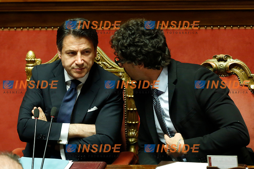 Giuseppe Conte and Danilo Toninelli<br /> Rome March 19th 2019. Senate. Speech of the Italian Premier about the next European Council and about the economic agreements italy/China.<br /> Foto Samantha Zucchi Insidefoto