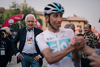 Team Androni Giocattoli - Sidermec manager Gianni Savio overlooking his former prodigy (and new superstar of cycling in the making) Egan Bernal Gomez (COL/SKY) at the race start<br /> <br /> 99th Milano - Torino 2018 (ITA)<br /> from Magenta to Superga: 200km