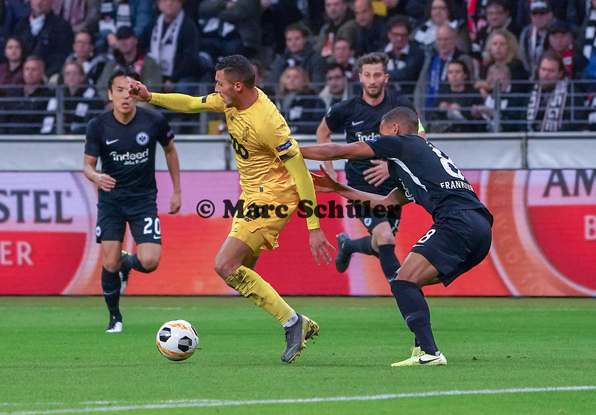 Selim Amallah (Standard Lüttich, R. Standard de Liege) gegen Djibril Sow (Eintracht Frankfurt) - 24.10.2019:  Eintracht Frankfurt vs. Standard Lüttich, UEFA Europa League, Gruppenphase, Commerzbank Arena<br /> DISCLAIMER: DFL regulations prohibit any use of photographs as image sequences and/or quasi-video.