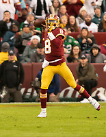 Washington Redskins quarterback Josh Johnson (8) looks for a receiver in first quarter action against the Philadelphia Eagles at FedEx Field in Landover, Maryland on December 30, 2018.  The Eagles won the game 24 - 0. Photo Credit: Ron Sachs/CNP/AdMedia