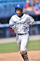 Asheville Tourists second baseman Max George (3) runs home during a game against the Charleston RiverDogs at McCormick Field on July 10, 2016 in Asheville, North Carolina. The Tourists defeated the RiverDogs 4-2. (Tony Farlow/Four Seam Images)
