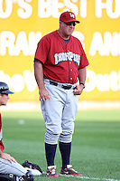 Lehigh Valley IronPigs pitching coach Rod Nichols during a game vs. the Buffalo Bisons at Coca-Cola Field in Buffalo, New York;  August 1, 2010.  Buffalo defeated Lehigh Valley 2-1 in 10 innings.  Photo By Mike Janes/Four Seam Images