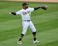Eric Young Jr. (8) of the Salt Lake Bees during the game against the El Paso Chihuahuas in Pacific Coast League action at Smith's Ballpark on April 30, 2017 in Salt Lake City, Utah. El Paso defeated Salt Lake 3-0. This was Game 1 of a double-header.  (Stephen Smith/Four Seam Images)