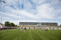 General view of the Stadium as Wycombe players warm up ahead of the pre season friendly match between Slough Town and Wycombe Wanderers at Arbour Park Stadium, Slough, England on 8 July 2017. Photo by Andy Rowland.