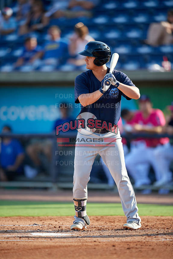 Mobile BayBears Brendon Sanger (4) at bat during a Southern League game against the Mobile BayBears on July 25, 2019 at Blue Wahoos Stadium in Pensacola, Florida.  Pensacola defeated Mobile 2-1 in the first game of a doubleheader.  (Mike Janes/Four Seam Images)