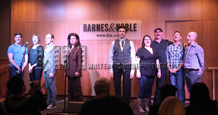 Callan Bergmann, Pamela Bob, Topher Nuccio, Jenn Harris, Brent Barrett, Annie Funke, Howard Kaye, Stephen Bienskie & Harry Bouvy  .promotes the 'SILENCE! The Musical' Cast Recording with a performance at Barnes & Noble, 86th & Lexington on February 23, 2012 in New York City.