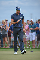 Henrik Stenson (SWE) acknowledges the gallery after sinking his putt on 1 during round 4 of the Houston Open, Golf Club of Houston, Houston, Texas. 4/1/2018.<br /> Picture: Golffile | Ken Murray<br /> <br /> <br /> All photo usage must carry mandatory copyright credit (&copy; Golffile | Ken Murray)