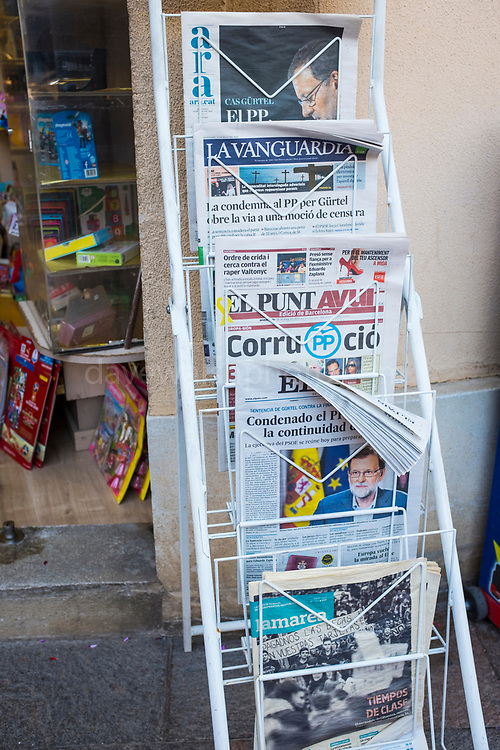 Newspapers showing headlines about the Party Popular Gurtel corruption case, Spain.