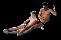 Picture by Alex Whitehead/SWpix.com - 13/04/2018 - Commonwealth Games - Diving - Optus Aquatics Centre, Gold Coast, Australia - Jack Laugher and Chris Mears of England win Gold in the Men's 3m Synchro Springboard final.