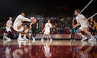 STANFORD, CA - January 17, 2019: Jordan Ewert, Jaylen Jasper, Kyle Dagostino, Stephen Moye, Paul Bischoff at Maples Pavilion. The Stanford Cardinal defeated UC Irvine 27-25, 17-25, 25-22, and 27-25.
