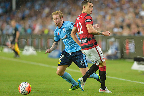 20.02.2016. Allianz Stadium, Sydney, Australia. Hyundai A-League. Sydney FC versus Western Sydney Wanderers. Sydneys midfielder David Carney slips past Wanderers defender Scott Neville. The game ended in a 1-1 draw.