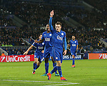 Leicester's Jamie Vardy celebrates backheeling the ball into the back of the net but his goal is disallowed during the Champions League group B match at the King Power Stadium, Leicester. Picture date November 22nd, 2016 Pic David Klein/Sportimage