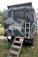 Polish military truck on display located at the site of a mock up of a military mess hall where soup and bread is served. Rawa Mazowiecka Central Poland