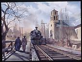 Ted Rose watercolor of D&amp;RGW #475 K-28 passing Guadalupe St. Church.<br /> D&amp;RGW  Santa Fe, NM  Taken by Rose, Ted