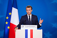 French President Emmanuel Macron gives a press conference at the Eu Summit - Belgium