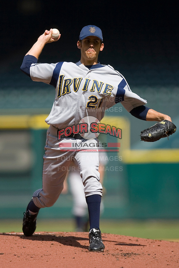 Starting pitcher Christian Bergman #21 of the UC-Irvine Anteaters in action versus the Houston Cougars  in the 2009 Houston College Classic at Minute Maid Park February 28, 2009 in Houston, TX.  The Anteaters defeated the Cougars 13-7. (Photo by Brian Westerholt / Four Seam Images)