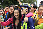 Colombian fans take selfies with Carlos Betancur (COL) outside the Movistar Team bus before Stage 1, a 14km individual time trial around Dusseldorf, of the 104th edition of the Tour de France 2017, Dusseldorf, Germany. 1st July 2017.<br /> Picture: Eoin Clarke | Cyclefile<br /> <br /> <br /> All photos usage must carry mandatory copyright credit (&copy; Cyclefile | Eoin Clarke)