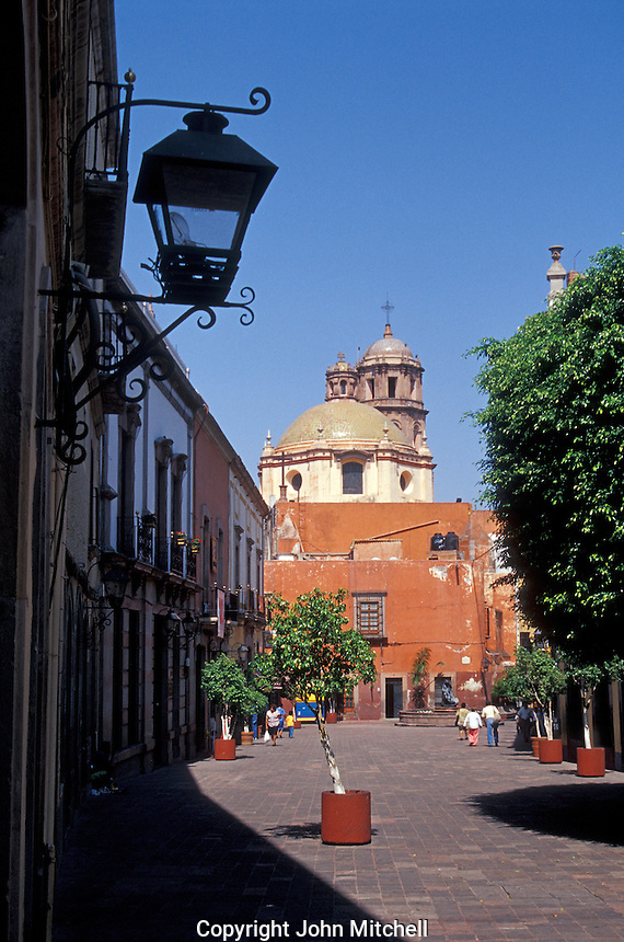An andador or pedestrian walkway in the city of Queretaro, Mexico. The historic centre of Queretaro is a UNESCO World Heritage Site.