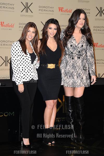 Kourtney, Kim and Kloe Kardashian launch their new Kardashian Kollection for Dorothy Perkins at Westfield Sherpherd's Bush, London. 10/11/2012 Picture by: Steve Vas / Featureflash