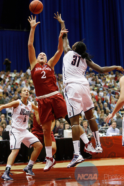 06 APR 2010:  Jayne Appel (2) of Stanford University puts up a shot against Tina Charles (31) of the University of Connecticut during the Division I Women's Basketball Championship held at the Alamodome in San Antonio, TX.  Connecticut defeated Stanford 53-47 for the national title.  Jamie Schwaberow/NCAA Photos