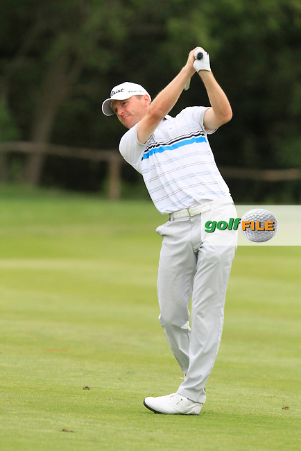 Michael Hoey (NIR) on the 9th fairway during Round 1 of the Open de Espana  in Club de Golf el Prat, Barcelona on Thursday 14th May 2015.<br /> Picture:  Thos Caffrey / www.golffile.ie