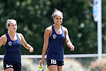 CARY, NC - JUNE 09: Darian Jenkins (16) is followed by Kristen Hamilton (23). The North Carolina Courage held a training session on June 9, 2017, at WakeMed Soccer Park Field 5 in Cary, NC.