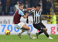 Burnley's Charlie Taylor and Newcastle United's Kenedy <br /> Photographer Rachel Holborn/CameraSport<br /> <br /> The Premier League - Burnley v Newcastle United - Monday 26th November 2018 - Turf Moor - Burnley<br /> <br /> World Copyright © 2018 CameraSport. All rights reserved. 43 Linden Ave. Countesthorpe. Leicester. England. LE8 5PG - Tel: +44 (0) 116 277 4147 - admin@camerasport.com - www.camerasport.com