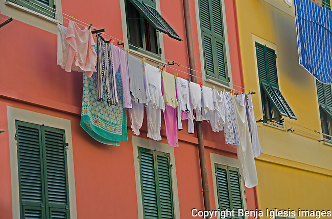 Clothes hanging on wash line at the small town of Vernazza.Classic Italina scenery.