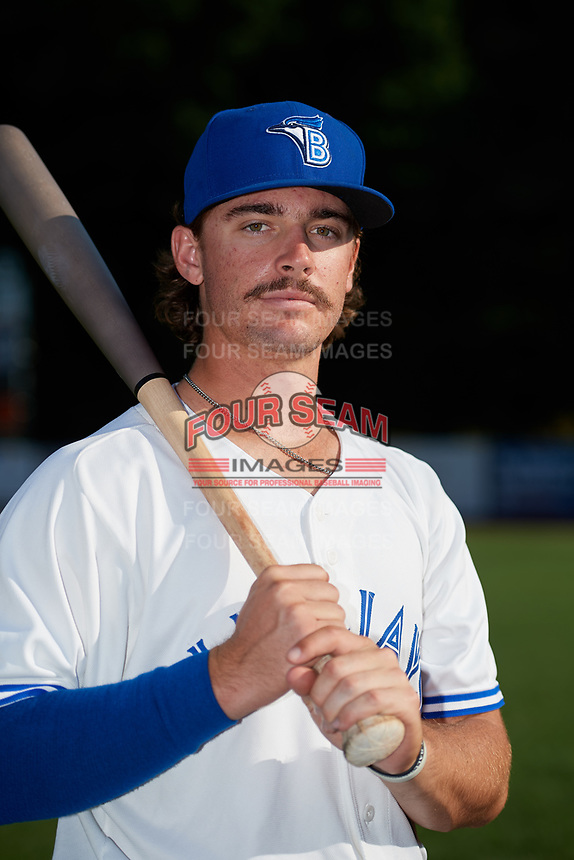 Bluefield Blue Jays Hagen Danner (34) poses for a photo before a game against the Bristol Pirates on July 26, 2018 at Bowen Field in Bluefield, Virginia.  Bristol defeated Bluefield 7-6.  (Mike Janes/Four Seam Images)