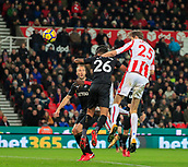 2nd December 2017, bet365 Stadium, Stoke-on-Trent, England; EPL Premier League football, Stoke City versus Swansea City; Peter Crouch of Stoke City heads on goal but it goes over the bar
