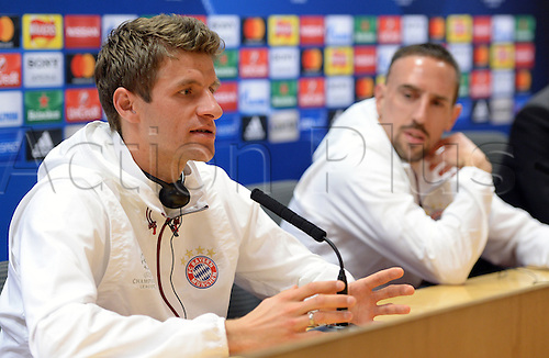 March 6th 2017, London England;  Bayern Munich's Franck Ribery (R) and Thomas Mueller at a press conference in the Emirates stadium. The German Bundesliga side will face the English Premier League club FC Arsenal in the second leg of the Champions League round of 16 fixture on the March 7th