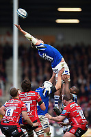 Tom Ellis of Bath Rugby rises high to win lineout ball. Gallagher Premiership match, between Gloucester Rugby and Bath Rugby on April 13, 2019 at Kingsholm Stadium in Gloucester, England. Photo by: Patrick Khachfe / Onside Images