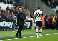 23rd November 2019; London Stadium, London, England; English Premier League Football, West Ham United versus Tottenham Hotspur; Tottenham Hotspur Manager Jose Mourinho giving instructions to Harry Kane of Tottenham Hotspur from the touchline  - Strictly Editorial Use Only. No use with unauthorized audio, video, data, fixture lists, club/league logos or 'live' services. Online in-match use limited to 120 images, no video emulation. No use in betting, games or single club/league/player publications