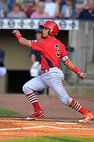 Peoria Chiefs second baseman Irving Lopez (11) swings at a pitch against the Cedar Rapids Kernels at Veterans Memorial Stadium on June 16, 2018 in Cedar Rapids, Iowa. The Kernels won 12-4.  (Dennis Hubbard/Four Seam Images)