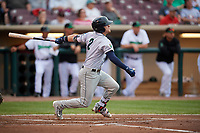 Cedar Rapids Kernels left fielder Caleb Hamilton (2) follows through on a swing during a game against the Dayton Dragons on May 10, 2017 at Fifth Third Field in Dayton, Ohio.  Cedar Rapids defeated Dayton 6-5 in ten innings.  (Mike Janes/Four Seam Images)